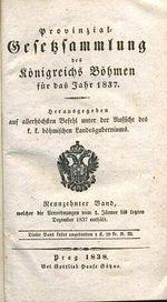 Provinzial Gesetzsammlung des konigreichs Bohmen fur das Jahr 1837  Band 19 | antikvariat - detail knihy