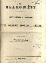Blahowest  katolicky tydenik pro Cechy  Morawany  Slowaky a Slezany