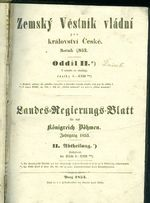 Zemsky Vestnik vladni pro kralovstvi Ceske Oddil I  a II    antikvariat - detail knihy