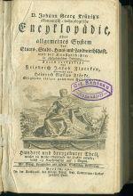 Dr Johann Georg Krunitzs Encyklopedie oder allgemeines System der Staats Stadt Haus undLandwirthschaft  Hundert unddrenzehnter Theil