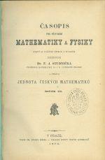 Casopis pro pestovani mathematiky a fysiky  roc  VII