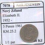 Novy Zeland Elizabeth II 1952 3 Pence 1961