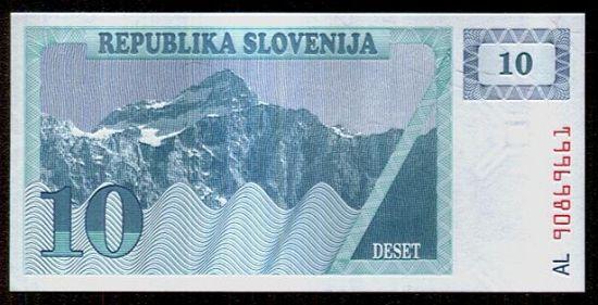 Slovinsko  10 Tolar - c787   antikvariat - detail bankovky