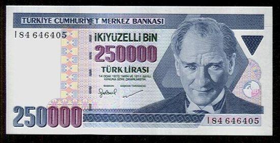 Turecko  250 000 Lirasi - C795 | antikvariat - detail bankovky