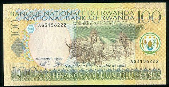 Rwanda  100 Francs - C564 | antikvariat - detail bankovky