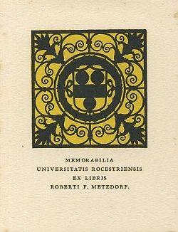Ex libris Roberti F Metzdorf - anonym | antikvariat - detail grafiky