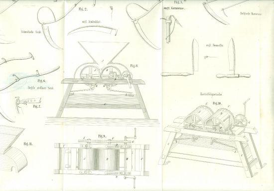 Zemedelske stroje   litografie   antikvariat - detail grafiky
