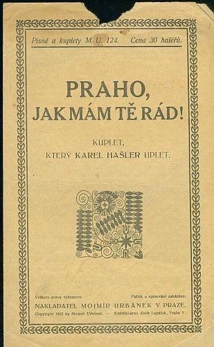 Praho  jak mam te rad - Hasler Karel | antikvariat - detail knihy