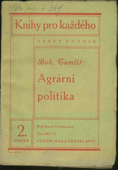Agrarni politika - Tumlir Boh    antikvariat - detail knihy