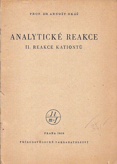Analyticke reakce II reakce aniontu - Okac Arnost | antikvariat - detail knihy