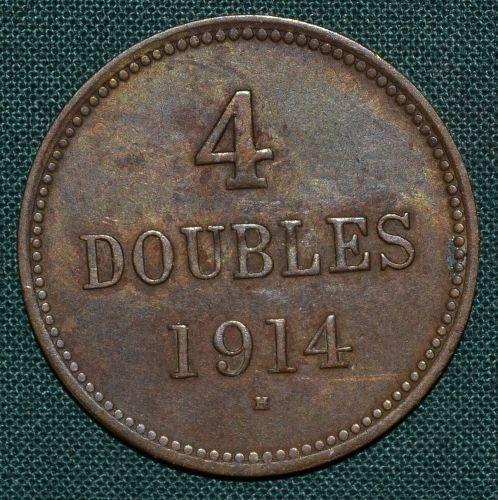 4 Doubles 1914 H Guernsey George V - A9093   antikvariat - detail numismatiky