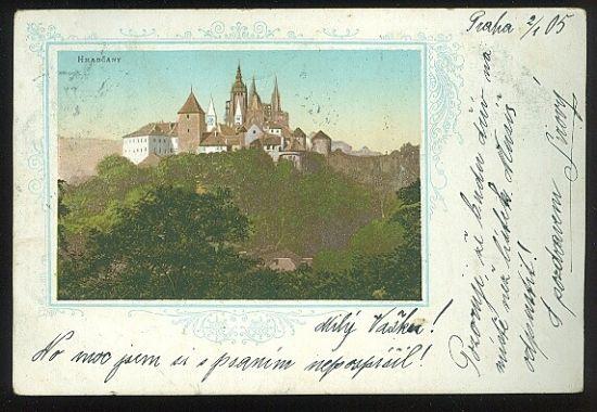 Praha Hradcany   antikvariat - detail pohlednice