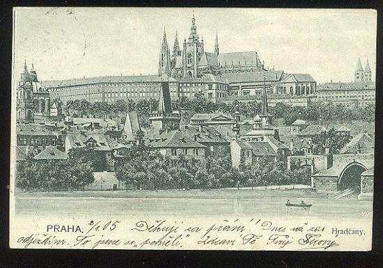Praha  Hradcany | antikvariat - detail pohlednice