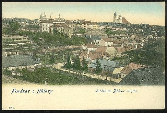 Pozdrav z Jihlavy  Pohled na Jihlavu od jihu | antikvariat - detail pohlednice