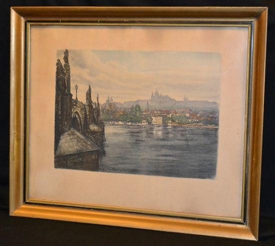 Praha  Pohled na Hradcany a Karluv most - anonym   antikvariat - detail starozitnosti